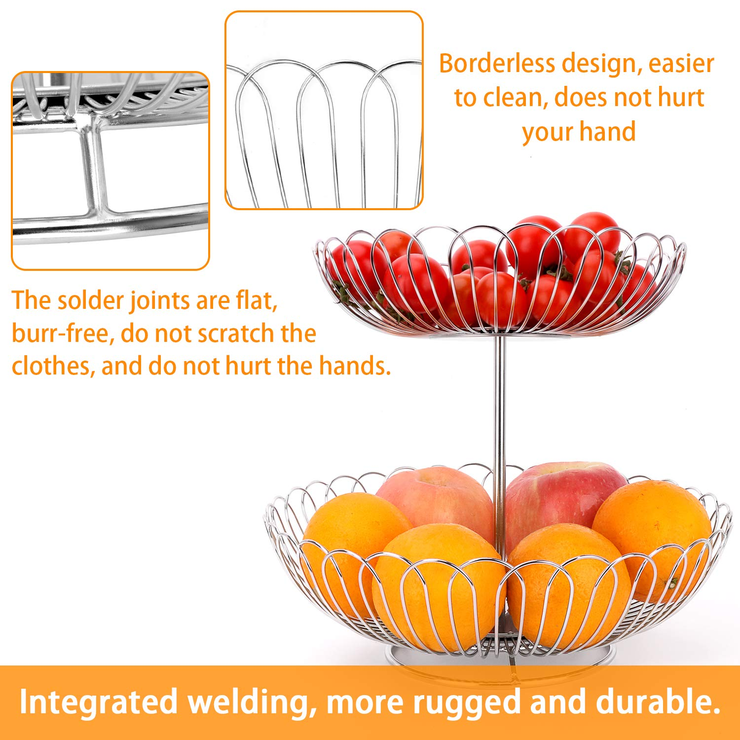 Stainless Steel 2 Tier Wire Fruit Basket Bowl for Kitchen Counter Stand with Bread by LANEJOY (Image #5)