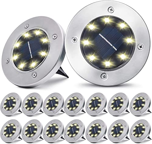pozzolanas Solar Ground Lights,8 LED Solar Garden Lights Outdoor Waterproof in-Upgraded Outdoor Garden Waterproof Bright in-Ground Lights for Lawn Pathway Yard Driveway,16 Packs Warm White