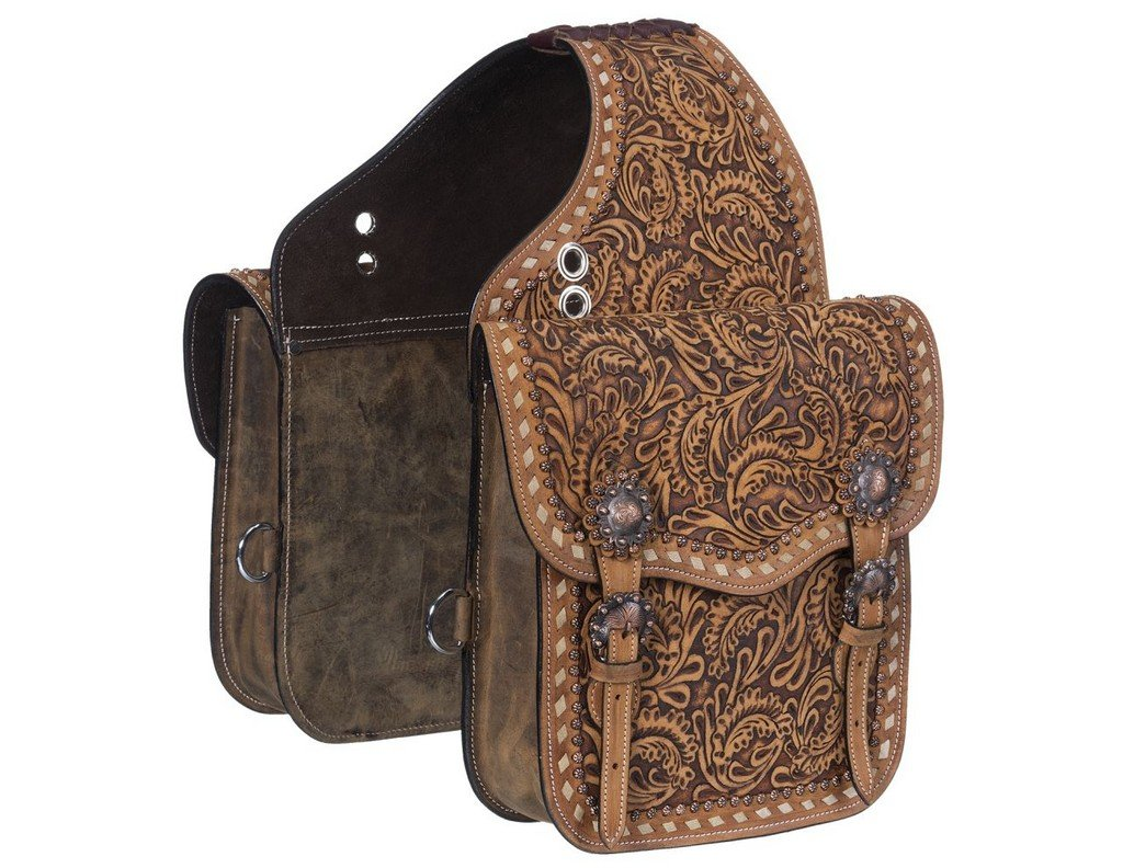 Tough-1 Saddle Bag Antique Leather Floral Tooling Buckle Brown 61-9910