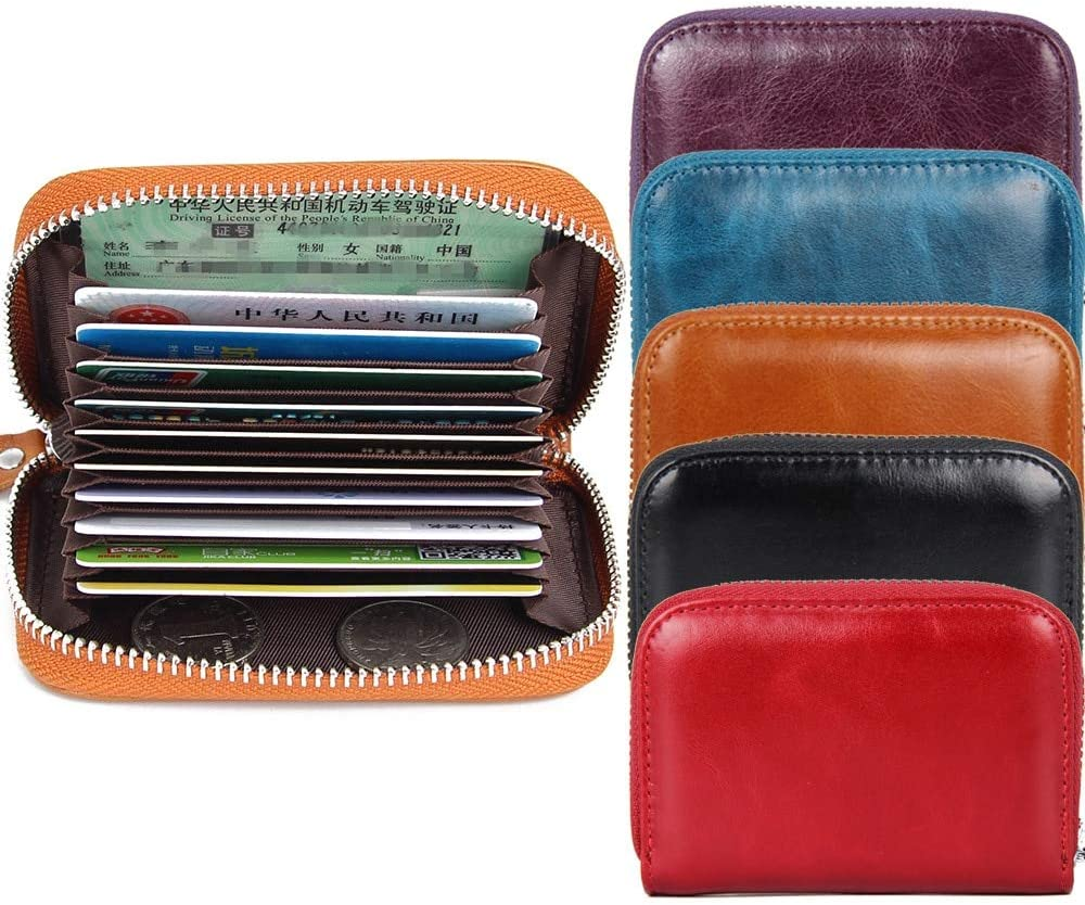 Color: Red New Women Men Real Genuine Leather Cowhide RFID Anti-Theft Organizer Case Coin Keys Purse Wallet Business Credit Card Holder Gimax Card /& ID Holders