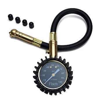FIXm 100PSI Manómetro de Presión de Neumático para Coche de Alta Presión con Tapas de Válvula