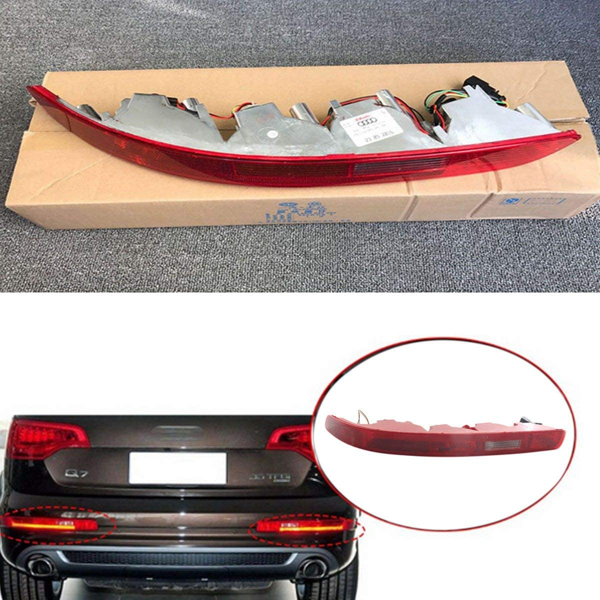 TOOGOO Usa Type Driver Right Side Lower Bumper Reflector Tail Light Reverse Stop Lamp With Led Bulbs Rear For Audi Q7 2007-2015 4L0945096A