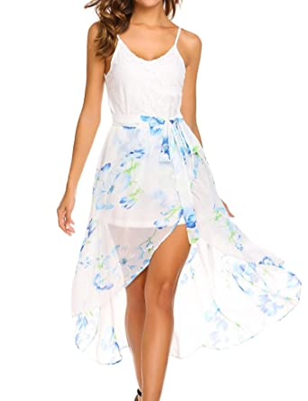 ELESOL Women Ivory White Floral Beach Dress Summer Sleeveless V Neck Dress 6c5295d0cb