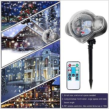 Proyector LED Exterior Solar, proyector de copos de nieve para ...