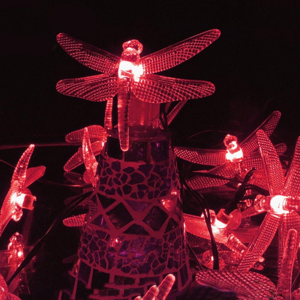 Semintech Solar String Light Waterproof Outdoor Fairy Lights 20Ft 30 Crystal Dragonfly Lights for Patio Homes Gardens