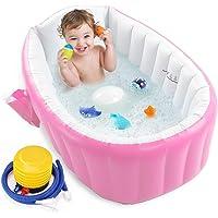 Inflatable Baby Bathtub with Air Pump, Portable Toddler Bathtub Baby Bath Tub Non Slip Travel Bathtub Mini Air Swimming…