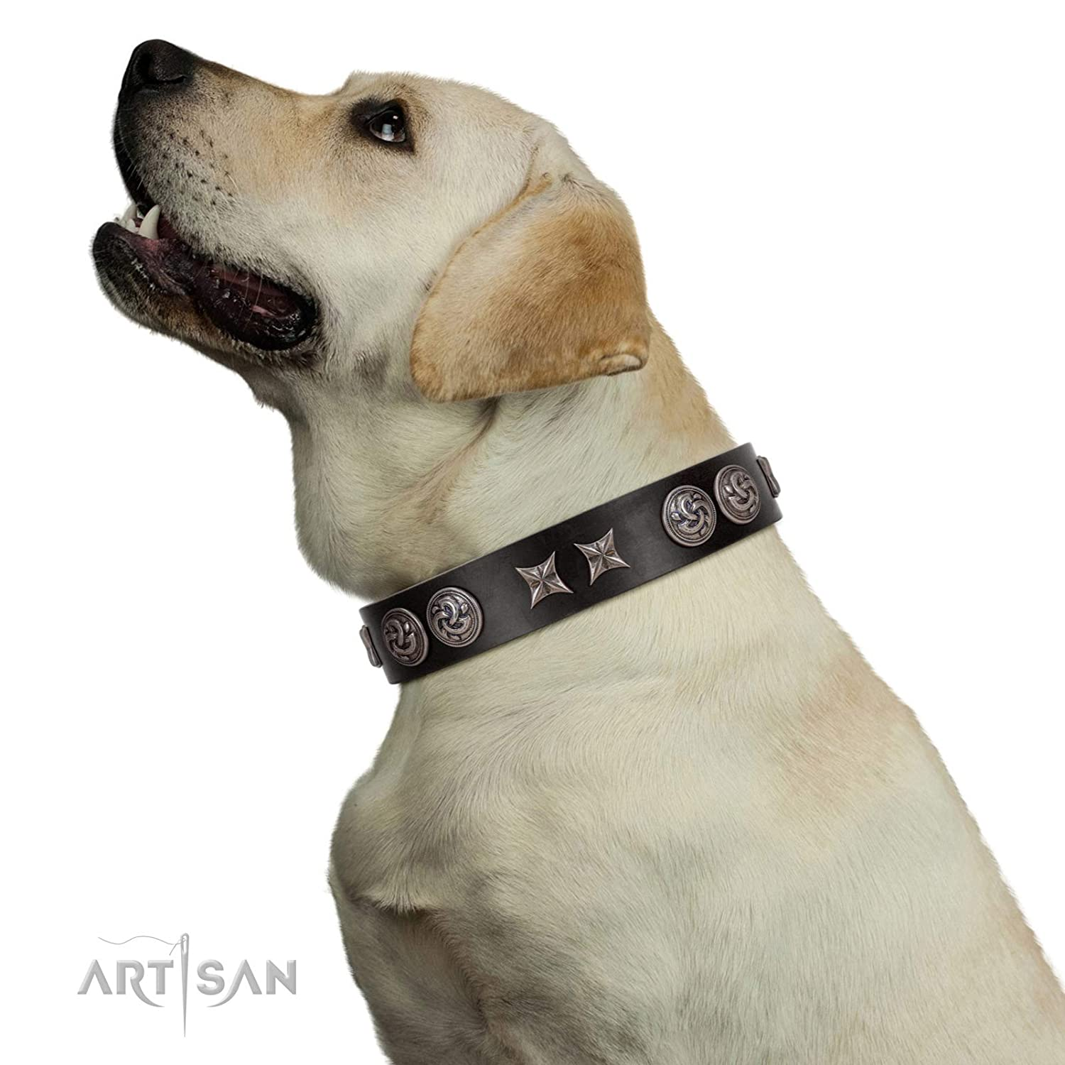 Fits for 32 inch (80cm) dog's neck size FDT Artisan 32 inch Black Leather Dog Collar with Brooches and Stars Century Silver 1 1 2 inch (40 mm) Wide Gift Box Included