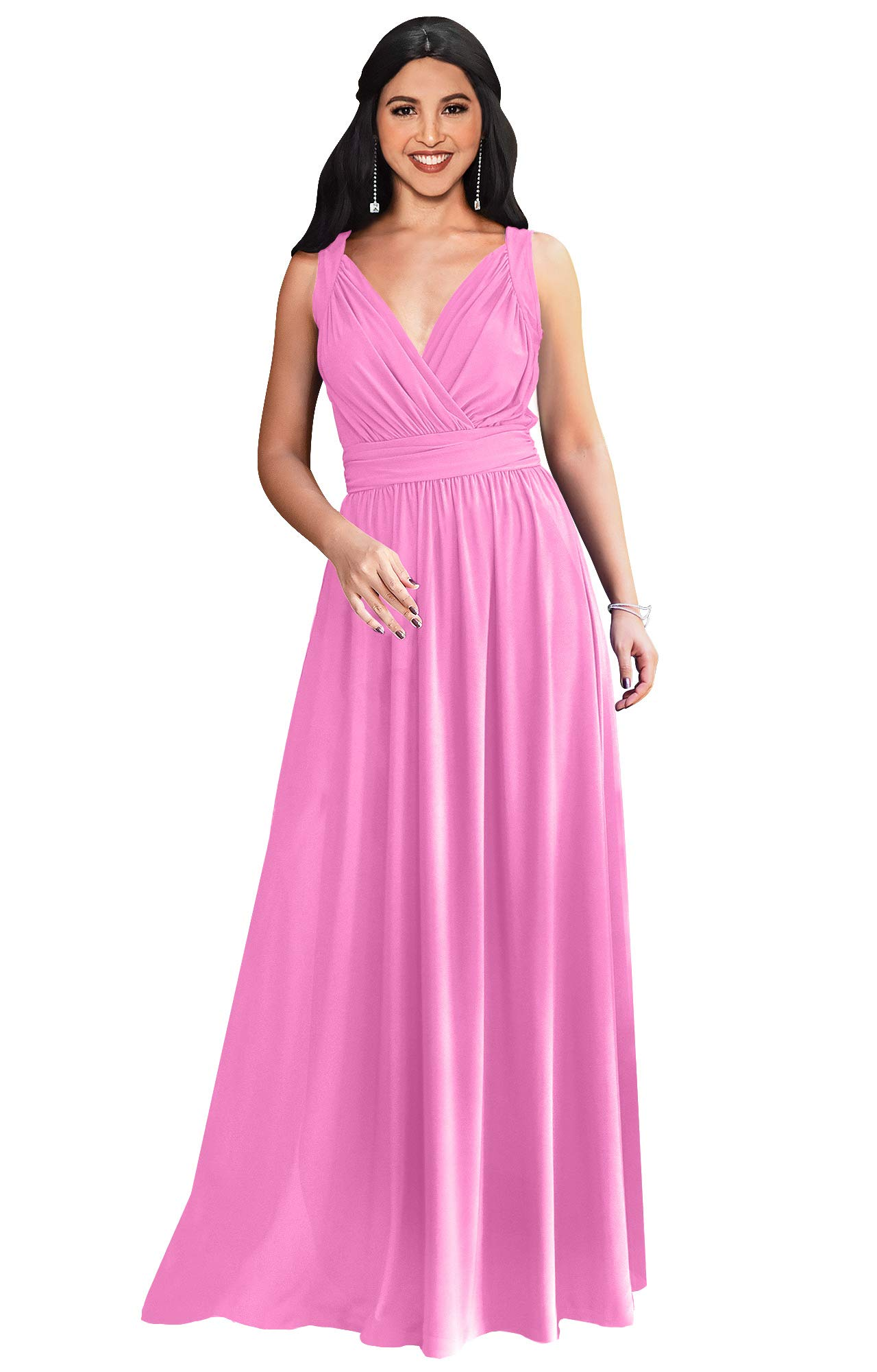 KOH KOH Plus Size Womens Long Sleeveless Flowy Bridesmaids Cocktail Party Evening Formal Sexy Summer Wedding Guest Ball Prom Gown Gowns Maxi Dress Dresses, Hot Fuchsia Pink 2XL 18-20 by KOH KOH