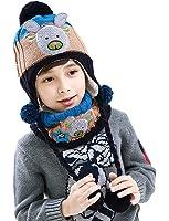 Bigood Bonnet Echarpe Bébé Enfant Chapeau Animaux Imprimé Cache Oreilles Tour de Cou Noël