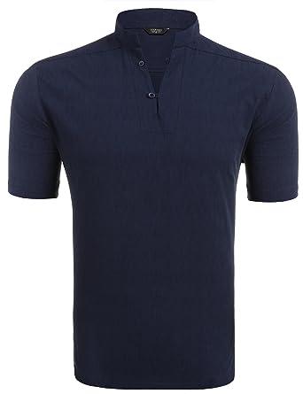 COOFANDY Leinenhemd einfarbig Herren Kurzarm Poloshirt mit Stehkragen  cooles T-Shirt Sommer Strand Party Club