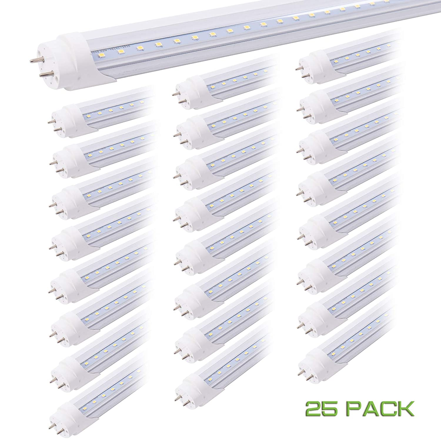 15 Pack T8 4FT 20W LED Tube Light,G13 Base,Clear Cover,Daylight White 6500K,Ballast Bypass,T12 4 Foot Indoor Bulb Light Fixture for Warehouse,Garage,Replacement for Flourescent Tubes,with UL Listed