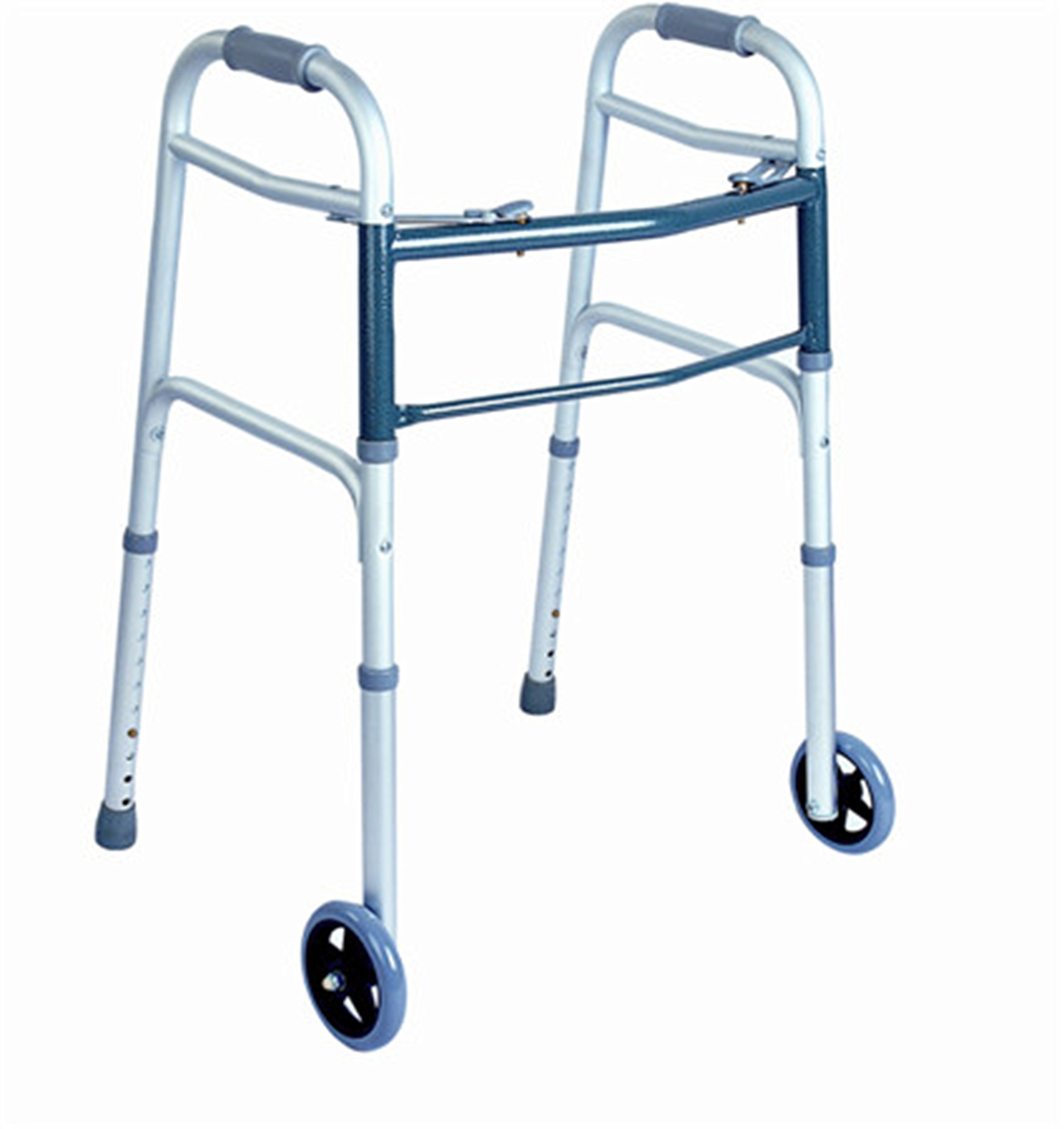 Rehabilitation Advantage Aluminum Two Button Folding Walker with Hand Grips and Wheels