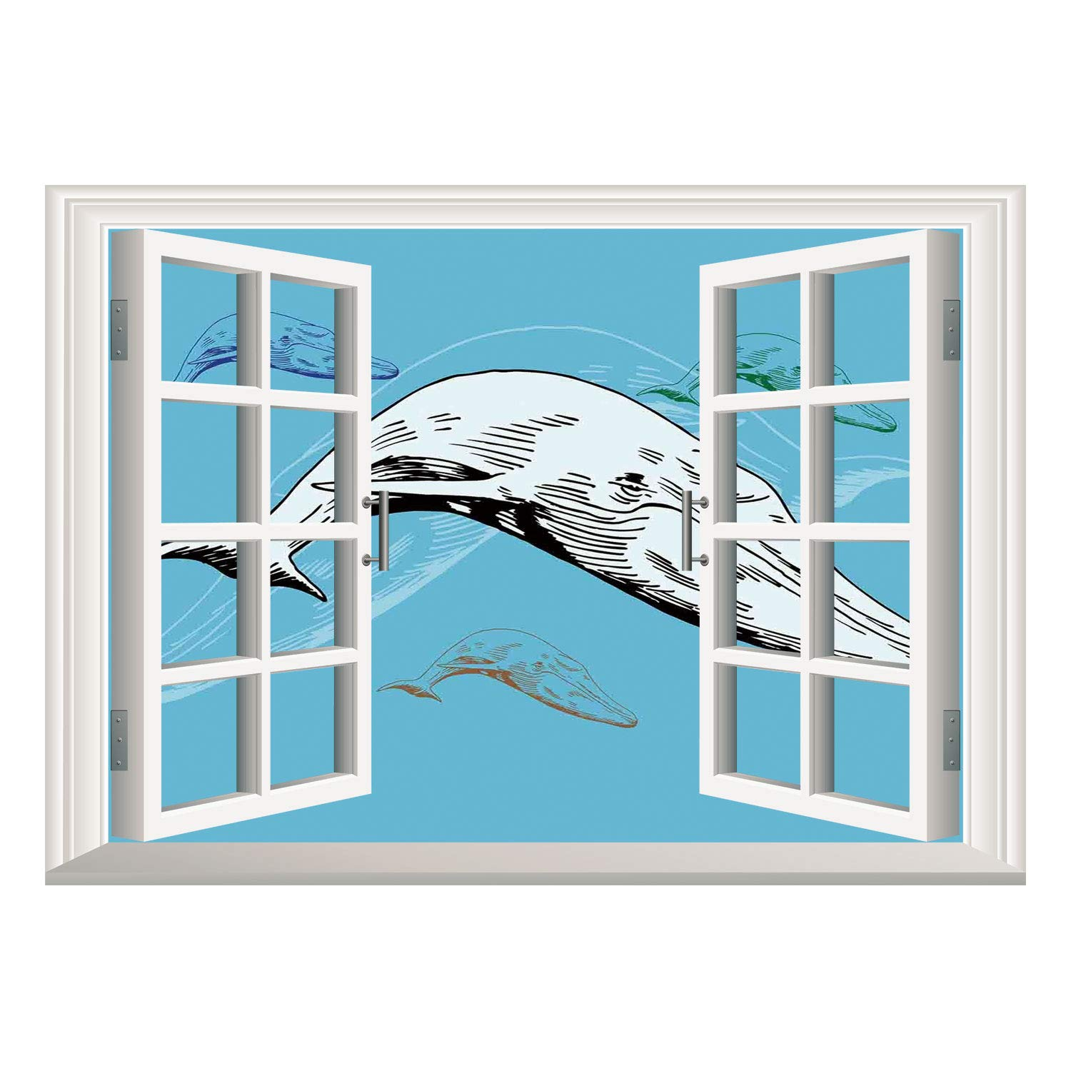 SCOCICI Window Mural Wall Sticker/Whale Decor,Shoal of Whales in Colored Swimming in Ocean Together Hand Drawing Image,White and Blue/Wall Sticker Mural