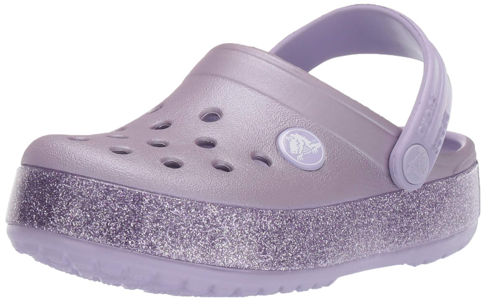 Crocs Kid's Crocband Glitter Clog, Lavender, 9 M US Toddler