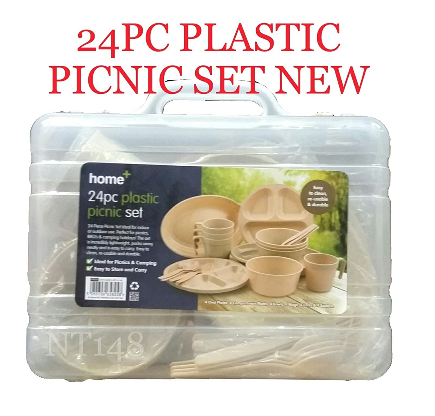 BS 24PC REUSABLE PLASTIC CAMPING PICNIC SET PLATES BOWLS GLASSES SPOONS FORKS UK HM