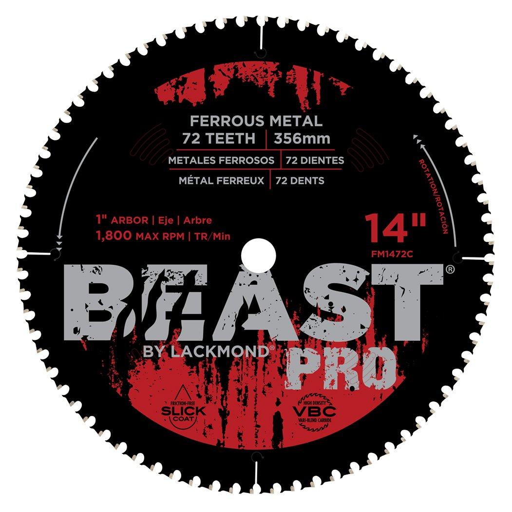 Lackmond Beast Pro Mild & Carbon Steel/Ferrous Metal Blade - 14'' Angle Iron Cutting Tool with Titanium Carbide Tipped Blade & 1'' Arbor - FM1472C