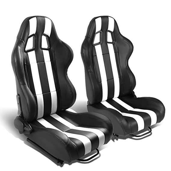 Amazon Com Dna Motoring Rs Jr 019 Bk Wh Pair Of Racing Seats W