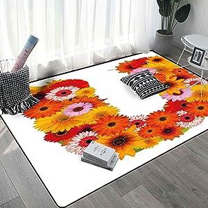 Letter U Living Room Rug 6x9 Ft, Pink Orange Yellow Wildflowers Warm Season Plants Romantic Arrangement Letter U Personality Rugs, Multicolor