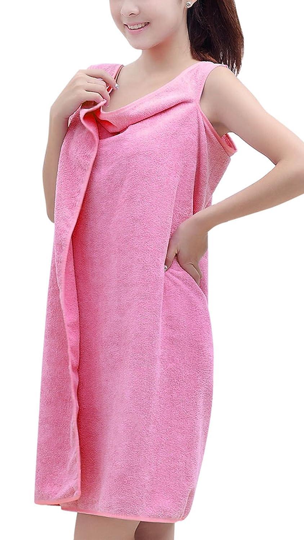 UTOVME Women Wrap Terry Cotton Spa Wearable Bath Towel Robe Self Closure Holes