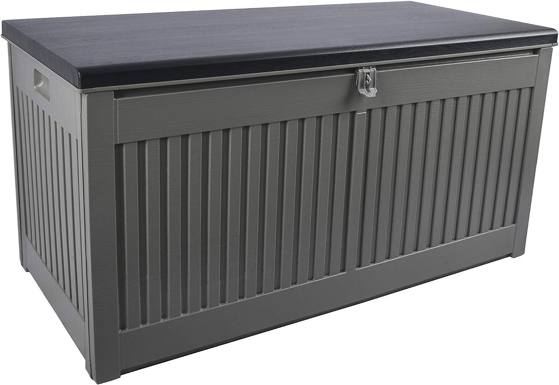 2 personas Gardtech Caja para muebles de terraza al aire libre hasta 250 kg resistente y lavable y f/ácil de montar Caja para cojines//caja para cojines en gris//negro con 270 litros de capacidad