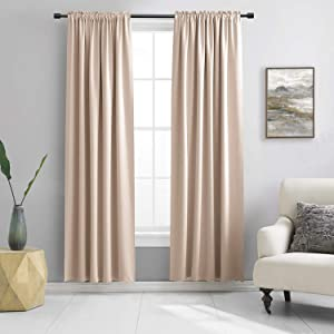 Room Darkening Curtain Panels - Boy's Room Drapes with Rod Pocket,Energy Smart Thermal Insulated Window Treatment Curtains(Warm Taupe,52 W x 90 inches L,2 Panels)