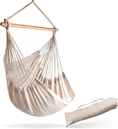 Hammock Sky Large Brazilian Hammock Chair Cotton Weave – Extra Long Bed – Hanging Chair for Yard, Bedroom, Porch, Indoor Outdoor Natural