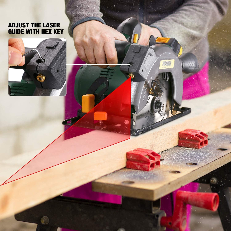 Laser R/églable 90/°-45/° Angle Coupe R/églable MTW300B Plaque De Base R/églable 4300RPM 4.0A Chargeur Rapide Scie Circulaire Sans Fil 2 x /Ø165mm Lames Coupe du Bois POPOMAN 18V 4.0Ah Batterie