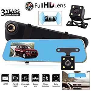 "Marketworldcup 4.3"" HD 1080P Dual Lens Car Dash Cam DVR Rear View Mirror Video Camera Recorder"