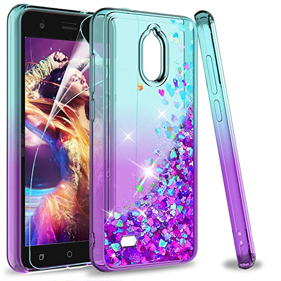 Coolpad Illumina Case (3310A) with HD Screen Protector, LeYi Glitter Bling  Moving Quicksand Liquid Clear Phone Case for Coolpad Illumina 3310A (2018)