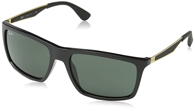 Amazon.com: Ray-Ban INJECTED MAN SUNGLASS - SHINY BLACK Frame DARK ...