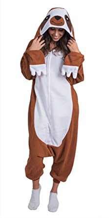 c151adda2810 Amazon.com  Adult Onesie Sloth Animal Pajamas Comfortable Costume with  Zipper and Pockets  Clothing