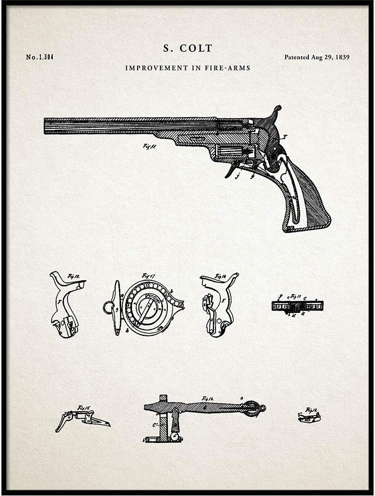 Vintago 1839 Colt Revolver Patent Print Invented by Sam Colt, Firearms Wall Decor, Poster, Western Gun, Gun Collector Gift Idea, Gun Lover, QP448