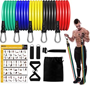 Koviti Resistance Bands - 12PCS Resistance Bands Set, Exercise Bands for Resistance Training, Home Workouts, Physical Therapy, Fitness, Pilates Stackable, Yoga