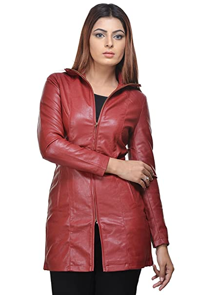 Cherry Red Color Women Long Jacket For Winter By Penymall Amazon In