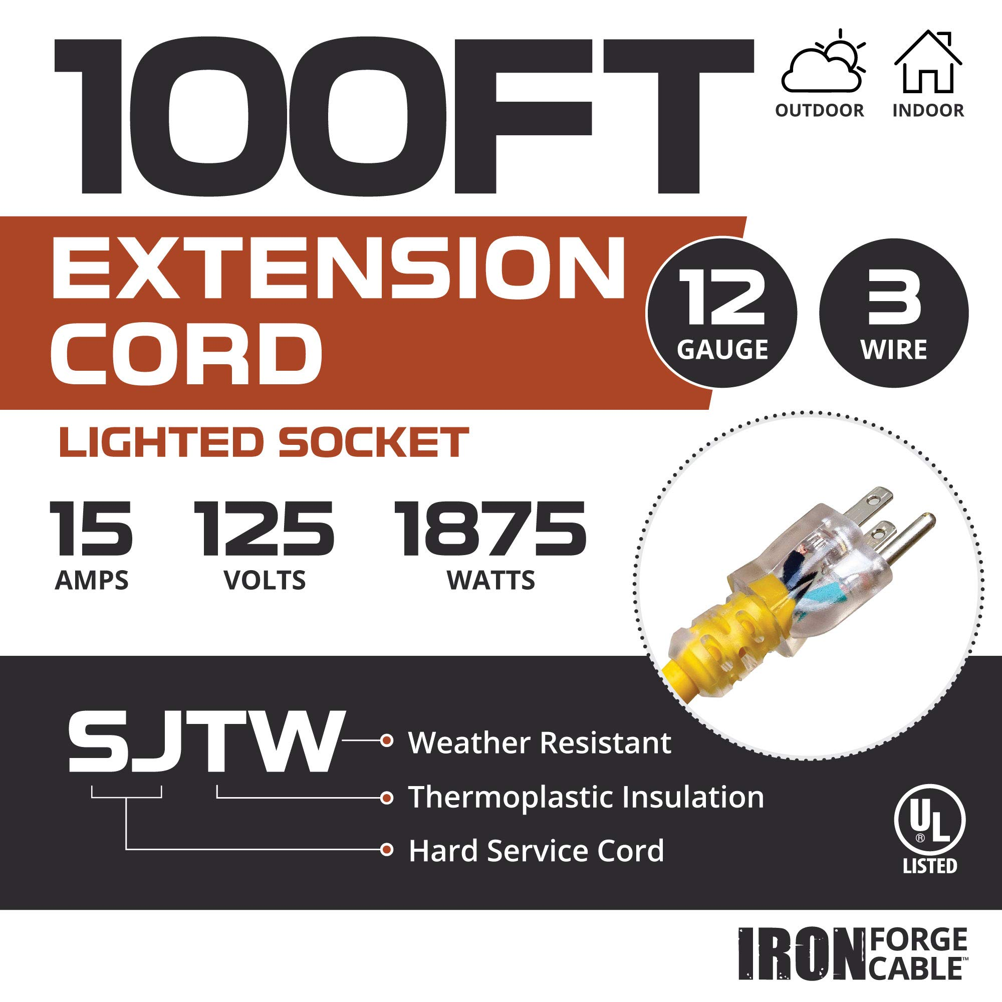 Outdoor Extension Cord - 12/3 SJTW Heavy Duty Yellow 3 Prong Extension Cable - Great for Garden and Major Appliances (100 Foot - Yellow) by Iron Forge Cable (Image #2)