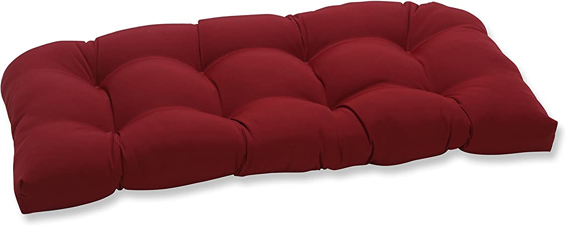 Amazon Com Pillow Perfect Outdoor Indoor Pompeii Tufted Loveseat Cushion 44 X 19 Red Home Kitchen
