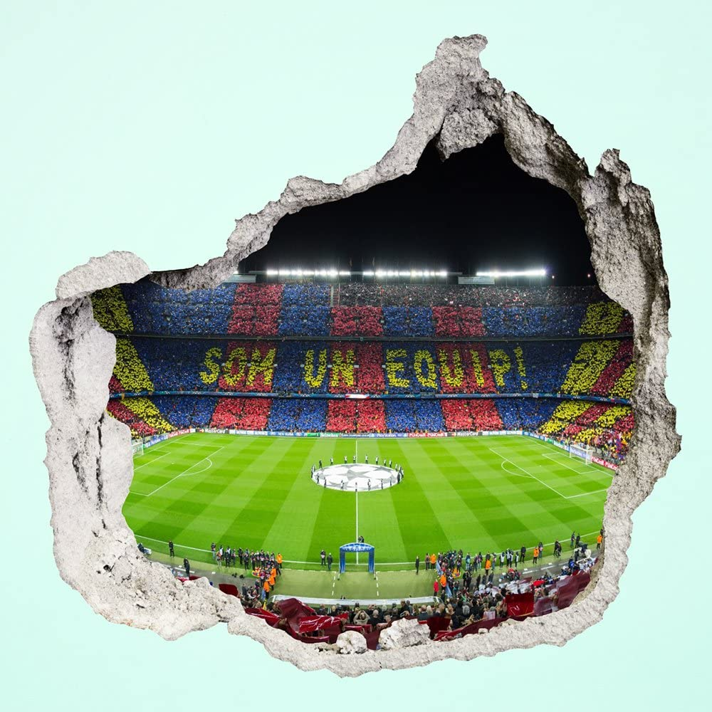 proxta photo wallpaper 3d hole in the wall camp nou stadium football fc barcelona som un equip amazon co uk kitchen home proxta photo wallpaper 3d hole in the wall camp nou stadium football fc barcelona som un equip