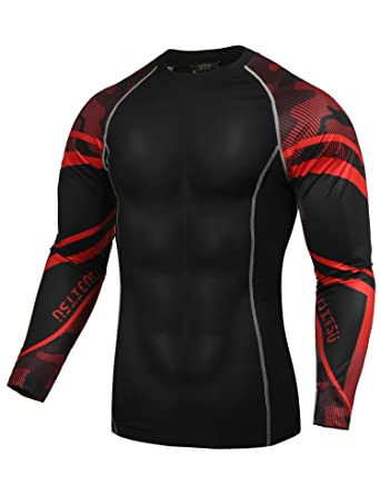 a58776f34 COOFANDY Pat2 Men s Quick Dry Compression Shirts Athletic Sport Fitness  Running Long Sleeve Gym T-
