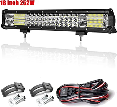 "Tri-row 252W 17/"" LED Work Light Bar Combo 7D Lens Offroad Truck SUV Driving US"