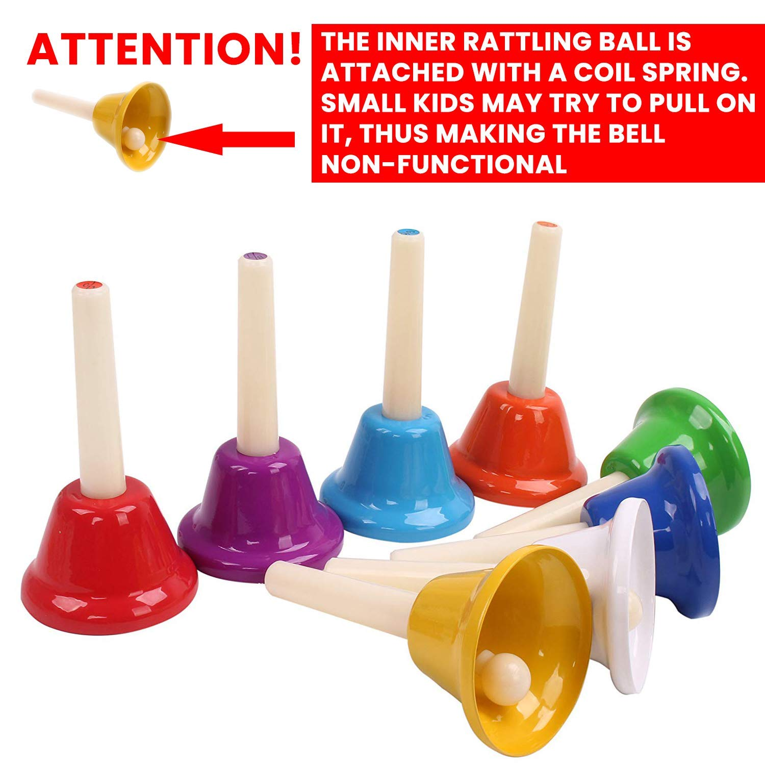Musical HandBells For Children, Adult, Seniors 8 Note Color-Coded Diatonic Metal Hand Bells Sheet Music Songs included by inTemenos (Image #7)