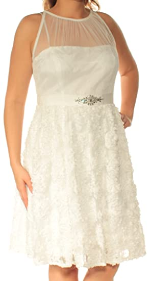 d511eb2c8cc Adrianna Papell Womens White Embellished Sleeveless Jewel Neck Knee Length  Fit + Flare Formal Dress Size