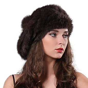 f0d64990dbcd7 FURTALK Women Winter Fur Beret Hat - Rex Rabbit Fur Knitted Warm Cap ...