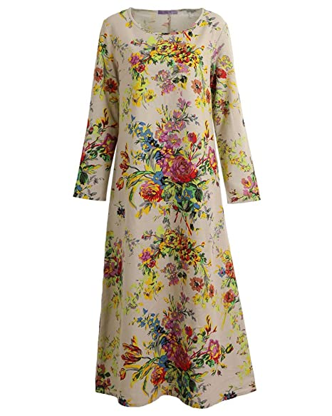Romacci Vintage Women Maxi Floral Dress Long Sleeves Pockets O Neck Plus  Size Cotton Linen Loose Robe Dress