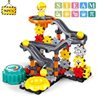 TEMI Construction Engineering Gear Toys Building Set, 96 PCS STEM Marble Run Race Track Motorized Spinning Gears Slide w/ 3 Balls, Interlocking Learning Blocks, Gifts for Kids Toddlers Boys and Girls