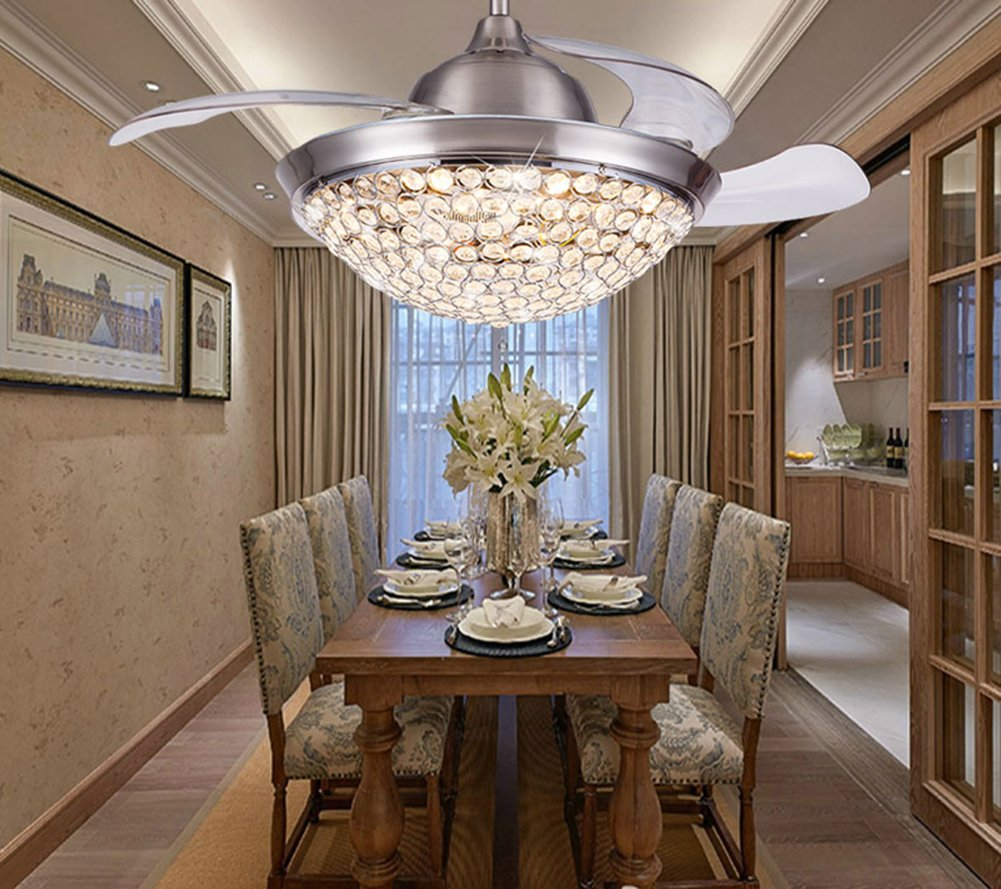 Yue Jia 42 Inch Promoting Natural Ventilation Invisible Fan Modern Luxury Crystal Dimmable (Warm/Daylight/Cool White) Chandelier Foldable Ceiling Fans With Lights Ceiling Fan with Remote Control by YUEJIA (Image #4)