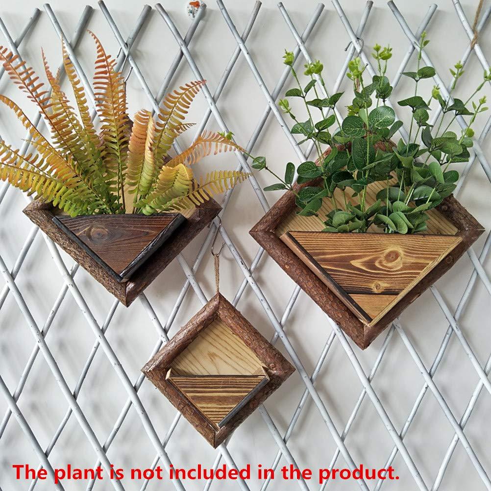 tama/ño peque/ño Creativo de Madera montado en la Pared Titular de la Planta Flor Cesta Colgante Jardinera decoraci/ón de la Pared para Sala de Estar Oficina