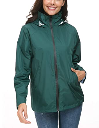 clients first 100% authenticated fashion design LOMON Windbreaker Packable Bomber Rain Jacket Women Ladies Waterproof  Jacket Cycling Hiking Rain Jacket Dark Green L