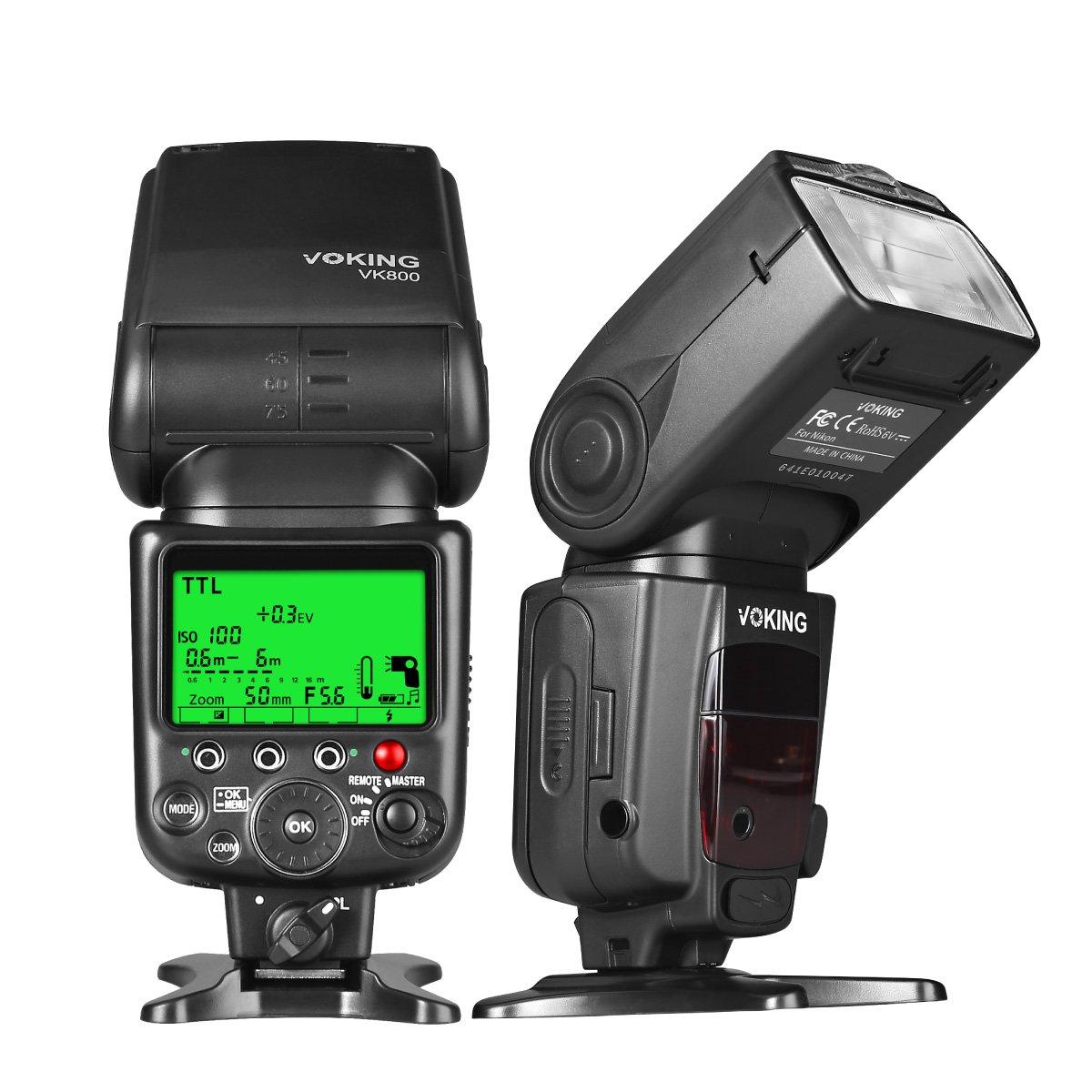 Voking VK800 I TTL External Camera Flash Slave Speelite for Nikon D3400 D3300 D3200 D5600 D850 D750 D7200 D5300 D5500 D500 D7100 D3100 and other Digital SLR Cameras