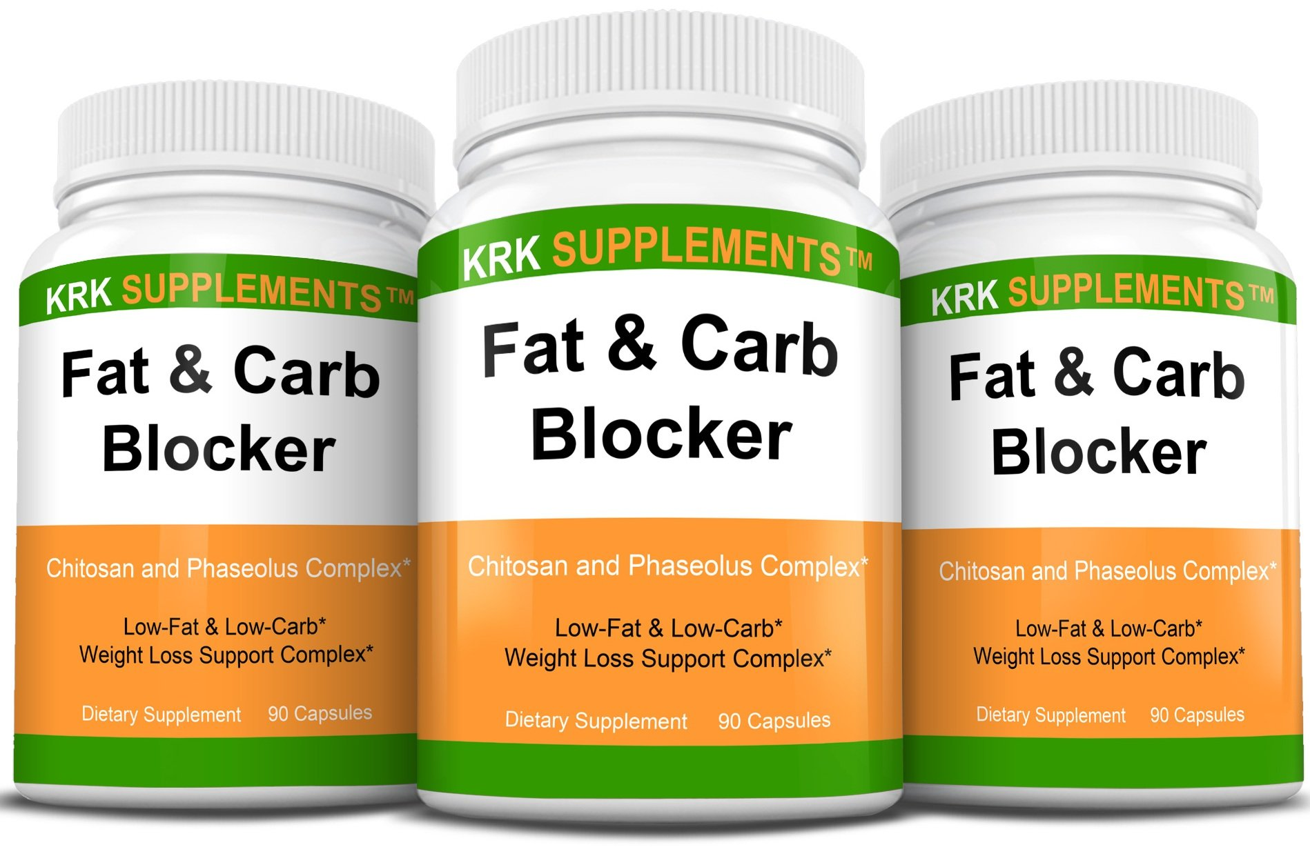 3 Bottles Fat and Carb Blocker with Phaseolus Vulgaris (White Kidney Bean Extract) Chitosan Extreme Diet Pills Weight Loss 270 Total Capsules KRK Supplements