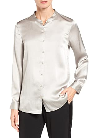 c735318815b9b Amazon.com  Eileen Fisher Plus Size Mandarin Collar Silk Button ...